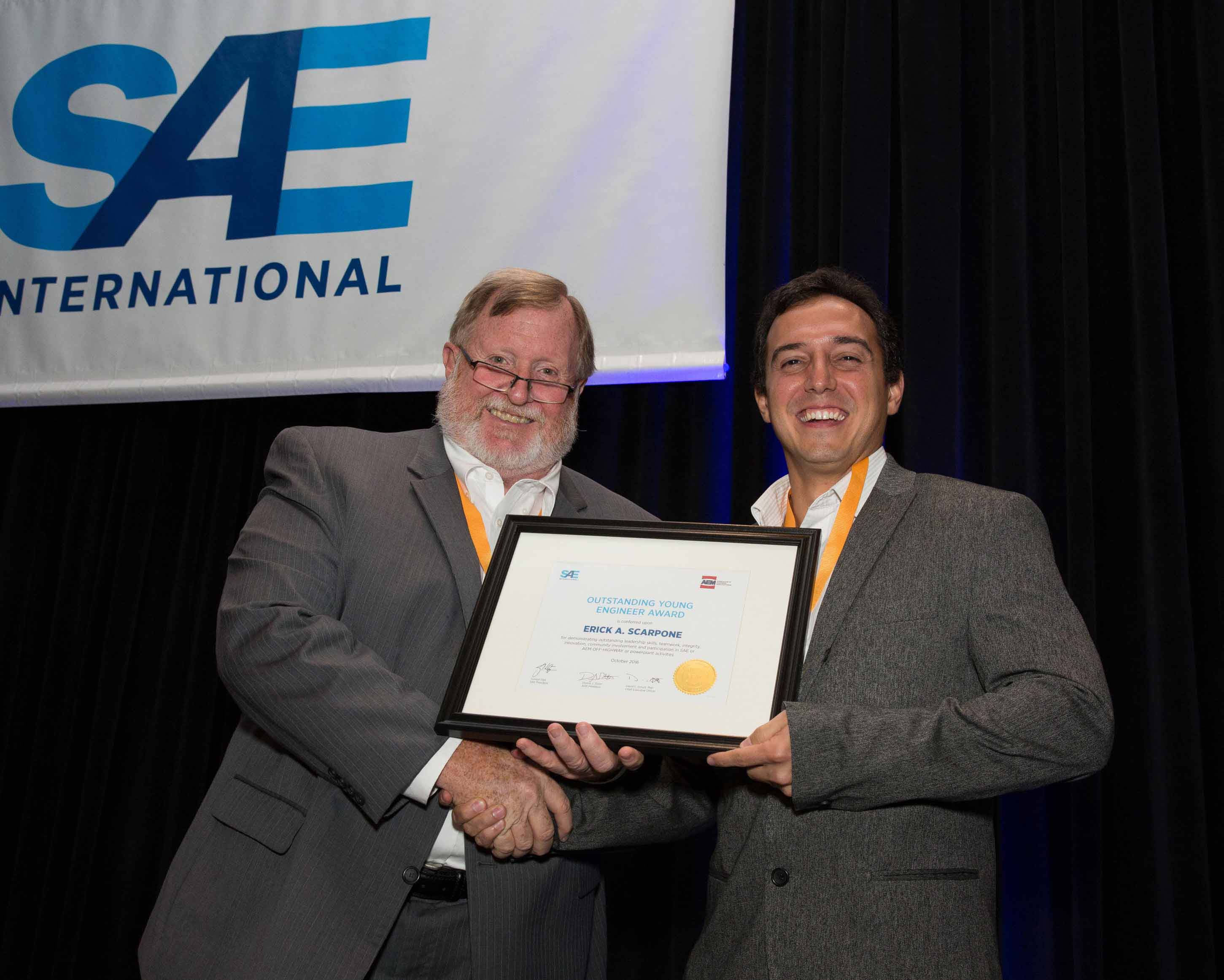Erick Scarpone of Caterpillar SAE-AEM Outstanding Young Engineer Named 2016