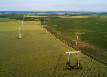 The view of some utility lines from a drone.