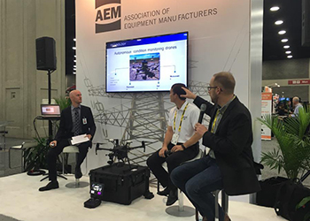 Dusty Weis from AEM, Rusty Ortkiese from Gresco, and Danny Ellis from SkySpecs discuss drones at an ICUEE panel.