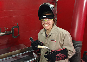 A student at Superior's Weld Training Center
